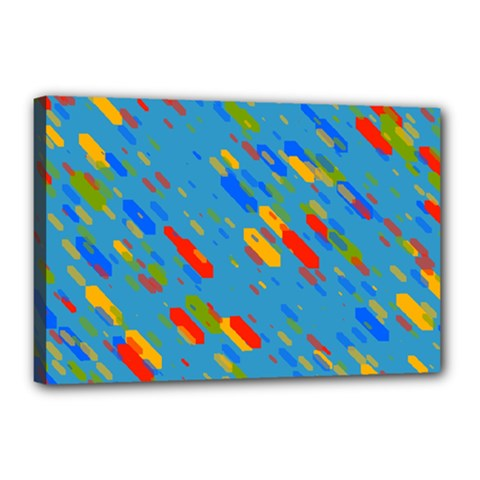Colorful Shapes On A Blue Background Canvas 18  X 12  (stretched)