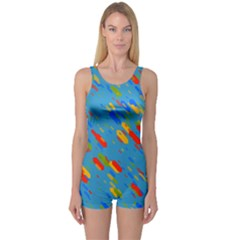 Colorful Shapes On A Blue Background Women s Boyleg Swimsuit by LalyLauraFLM
