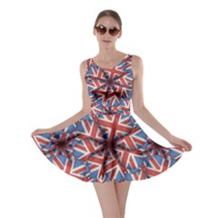 Heart Shaped England Flag Pattern Design Skater Dress by dflcprintsclothing