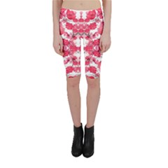 Floral Print Swirls Decorative Design Cropped Leggings  by dflcprintsclothing
