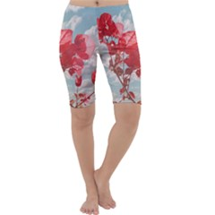 Flowers In The Sky Cropped Leggings  by dflcprintsclothing