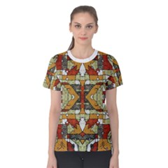 Multicolored Abstract Tribal Print Women s Cotton Tee by dflcprintsclothing