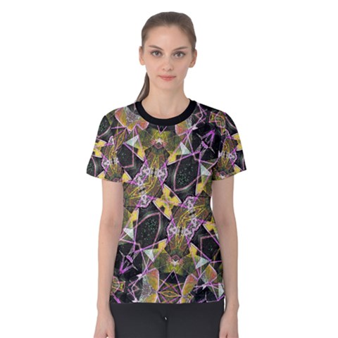 Geometric Grunge Pattern Print Women s Cotton Tee by dflcprintsclothing