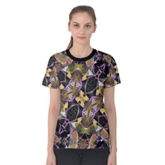 Geometric Grunge Pattern Print Women s Cotton Tee
