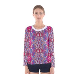 Colorful Ornate Decorative Pattern Long Sleeve T Shirt (women) by dflcprintsclothing