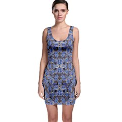 Floral Print In Navy Tones Bodycon Dress by dflcprintsclothing