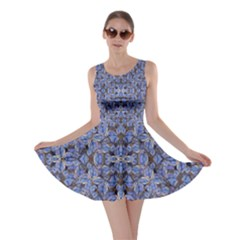 Floral Print In Navy Tones Skater Dress by dflcprintsclothing