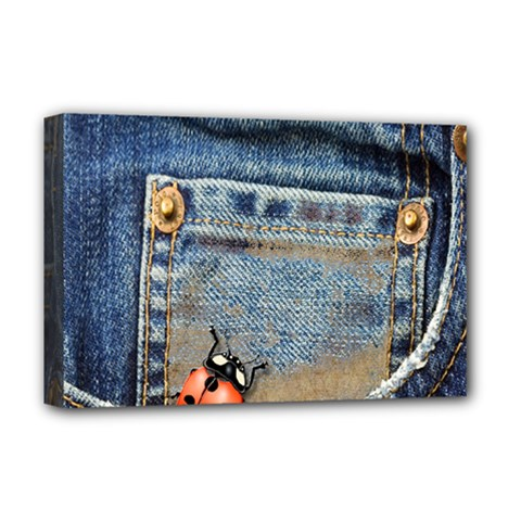 Blue Jean Lady Bug Deluxe Canvas 18  X 12  (framed) by TheWowFactor