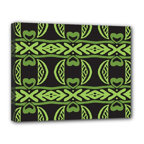 Green Shapes On A Black Background Pattern Canvas 14  X 11  (stretched) by LalyLauraFLM