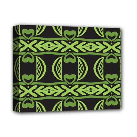 Green Shapes On A Black Background Pattern Deluxe Canvas 14  X 11  (stretched) by LalyLauraFLM