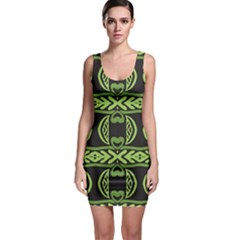 Green Shapes On A Black Background Pattern Bodycon Dress by LalyLauraFLM