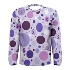 Purple Awareness Dots Long Sleeve T Shirt (men) by FunWithFibro