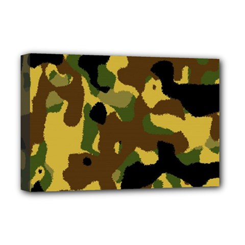 Camo Pattern  Deluxe Canvas 18  X 12  (framed) by Colorfulart23