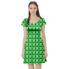 Green Abstract Tile Pattern Short Sleeve Skater Dress by creativemom