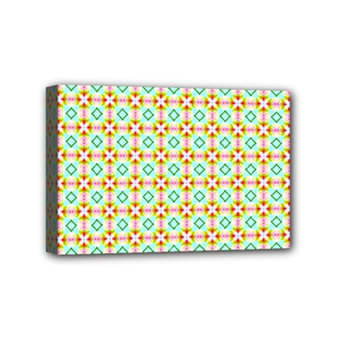 Aqua Mint Pattern Mini Canvas 6  X 4  (framed) by creativemom