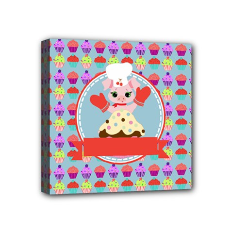 Cupcake With Cute Pig Chef Mini Canvas 4  X 4  (framed) by creativemom