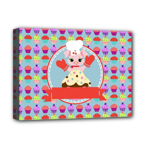Cupcake With Cute Pig Chef Deluxe Canvas 16  X 12  (framed)  by creativemom
