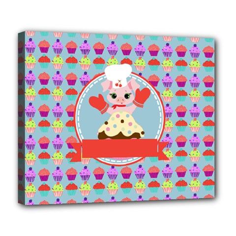 Cupcake With Cute Pig Chef Deluxe Canvas 24  X 20  (framed)