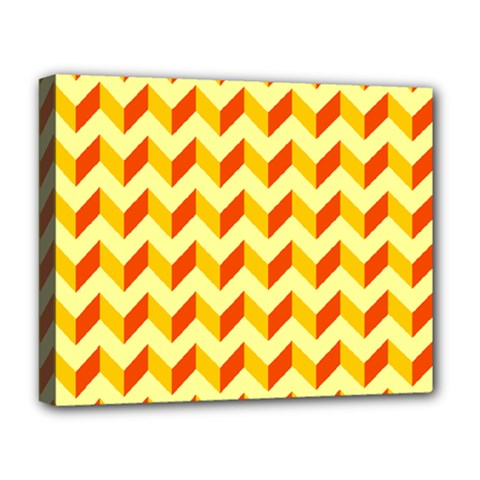 Modern Retro Chevron Patchwork Pattern  Deluxe Canvas 20  X 16  (framed) by creativemom
