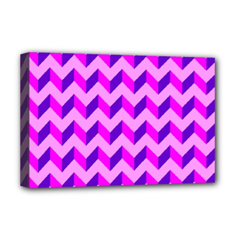 Modern Retro Chevron Patchwork Pattern Deluxe Canvas 18  X 12  (framed) by creativemom