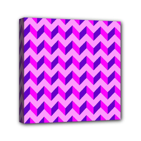 Modern Retro Chevron Patchwork Pattern Mini Canvas 6  X 6  (framed) by creativemom