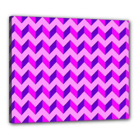 Modern Retro Chevron Patchwork Pattern Canvas 24  X 20  (framed) by creativemom