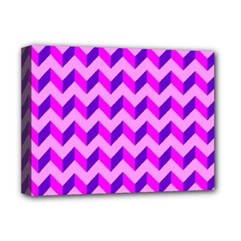 Modern Retro Chevron Patchwork Pattern Deluxe Canvas 16  X 12  (framed)  by creativemom