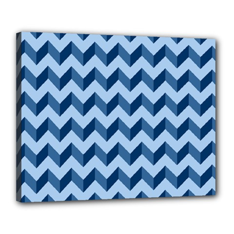 Tiffany Blue Modern Retro Chevron Patchwork Pattern Canvas 20  X 16  (framed) by creativemom