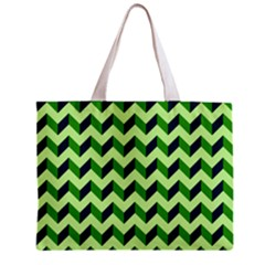 Green Modern Retro Chevron Patchwork Pattern Tiny Tote Bag by creativemom