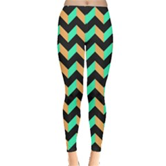 Neon And Black Modern Retro Chevron Patchwork Pattern Leggings  by creativemom