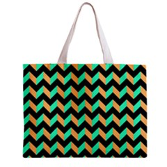 Neon And Black Modern Retro Chevron Patchwork Pattern Tiny Tote Bag by creativemom