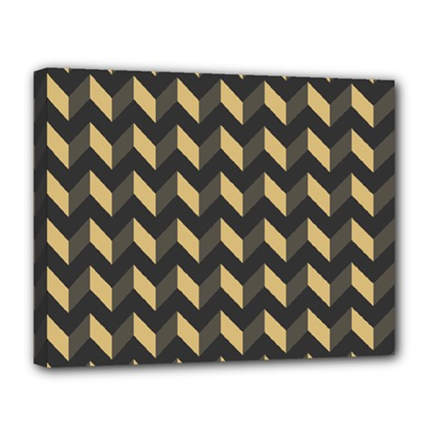 Tan Gray Modern Retro Chevron Patchwork Pattern Canvas 14  X 11  (framed) by creativemom