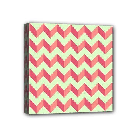 Mint Pink Modern Retro Chevron Patchwork Pattern Mini Canvas 4  X 4  (framed) by creativemom