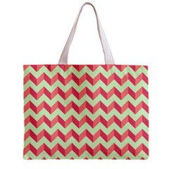 Mint Pink Modern Retro Chevron Patchwork Pattern Tiny Tote Bag by creativemom