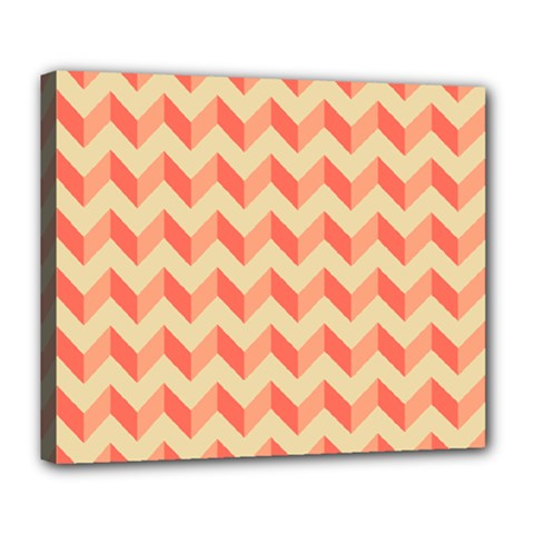 Modern Retro Chevron Patchwork Pattern Deluxe Canvas 24  X 20  (framed) by creativemom