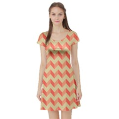 Modern Retro Chevron Patchwork Pattern Short Sleeve Skater Dress by creativemom
