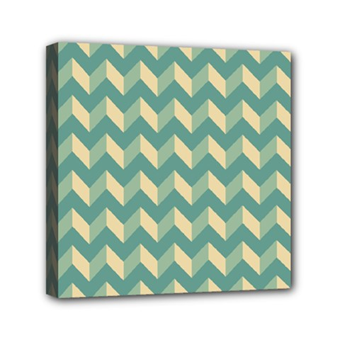 Mint Modern Retro Chevron Patchwork Pattern Mini Canvas 6  X 6  (framed) by creativemom