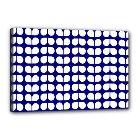 Blue And White Leaf Pattern Canvas 18  X 12  (framed) by creativemom