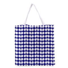 Blue And White Leaf Pattern Grocery Tote Bag by creativemom