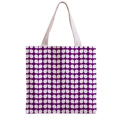 Purple And White Leaf Pattern Grocery Tote Bag by creativemom