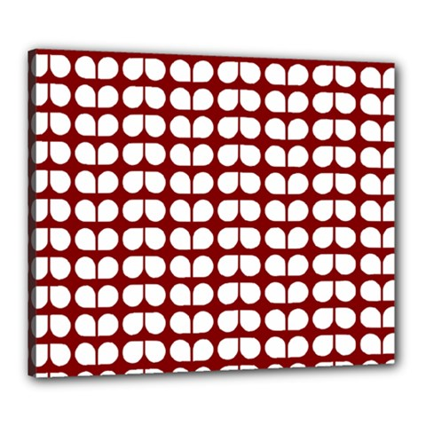 Red And White Leaf Pattern Canvas 24  X 20  (framed) by creativemom