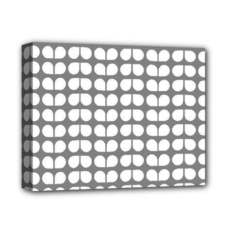 Gray And White Leaf Pattern Deluxe Canvas 14  X 11  (framed) by creativemom