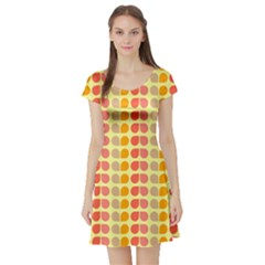 Colorful Leaf Pattern Short Sleeve Skater Dress by creativemom