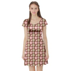 Cute Floral Pattern Short Sleeve Skater Dress by creativemom