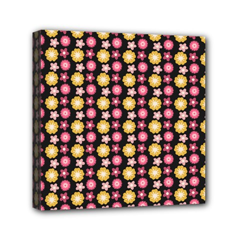 Cute Floral Pattern Mini Canvas 6  X 6  (framed) by creativemom