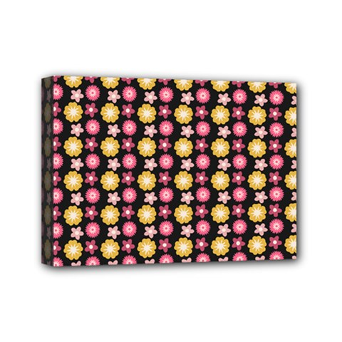 Cute Floral Pattern Mini Canvas 7  X 5  (framed) by creativemom