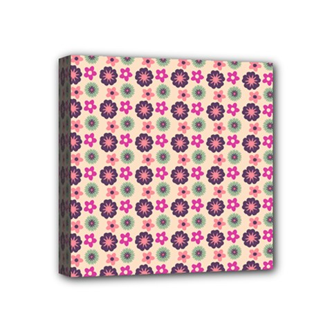 Cute Floral Pattern Mini Canvas 4  X 4  (framed) by creativemom