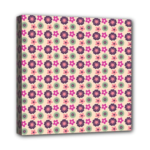 Cute Floral Pattern Mini Canvas 8  X 8  (framed) by creativemom