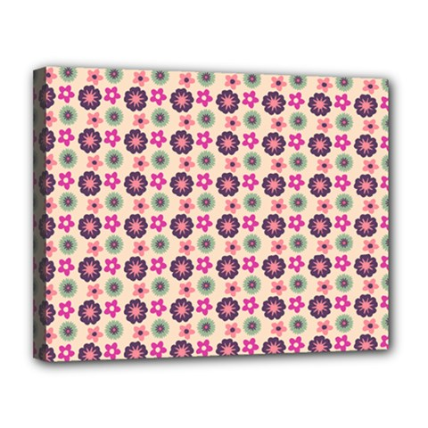 Cute Floral Pattern Canvas 14  X 11  (framed) by creativemom