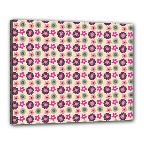 Cute Floral Pattern Canvas 20  X 16  (framed) by creativemom